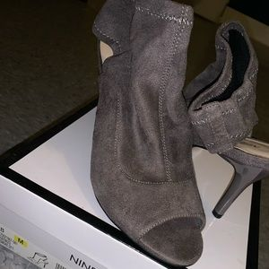 Open heeled gray shoes from Nine West